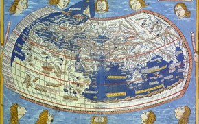 Picture travel, world map, geography, attributed to Ptolemy
