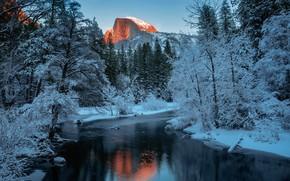 Picture snow, river, mountain, Landscape, Yosemite National Park