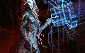 Picture look, girl, weapons, fiction, technology, Android, sci-fi