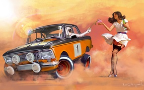 Wallpaper machine, auto, flower, girl, mood, the situation, rally, Muscovite, Daniyar Kadyrov