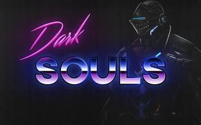 Wallpaper Neon, Dark, Background, Knight, Dark Souls, Souls, Synthpop, Darkwave, Retrowave, Synth-pop, Synthwave, Synth pop