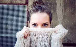 Picture eyes, look, girl, face, hands, makeup, hairstyle, sweater, bokeh