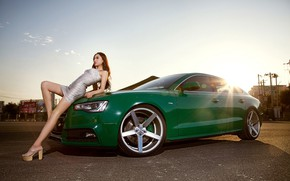 Picture look, girl, Audi, Girls, Asian, green car, on the hood