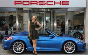 Picture auto, look, girl, smile, Porsche, convertible, Maria Sharapova