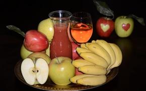 Picture apples, juice, bananas, fruit
