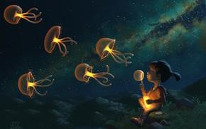 Wallpaper stars, night, child, Jellies, jellyfish