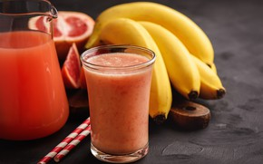 Picture Breakfast, juice, bananas, drink, vitamins, grapefruit, smoothies