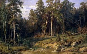 Picture landscape, nature, picture, Ivan Shishkin, Pine Forest, Mast timber in Vyatka Province