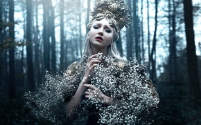 Picture forest, girl, art, flowers, Bella Kotak, The strength within