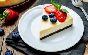 Wallpaper berries, cheesecake, a piece of cake, dessert