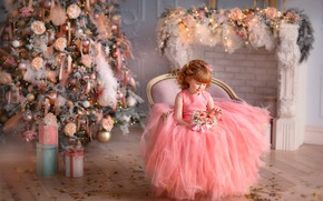 Wallpaper flowers, dress, girl, gifts, New year, tree, fireplace, a bunch
