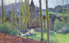 Picture landscape, picture, Henri-Jean Guillaume Martin, Henri Matrin, Going Out from the Mess at Labastide-du-Vert