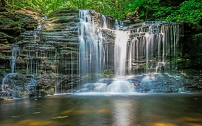 Picture nature, rock, waterfall, cascade