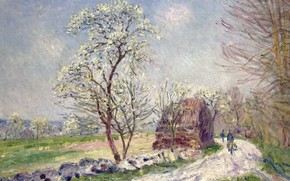 Picture road, picture, spring, Alfred Sisley, Alfred Sisley, Landscape with Flowering Trees