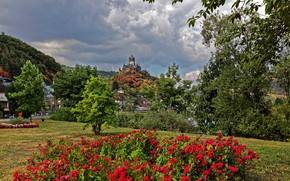 Picture forest, clouds, trees, flowers, clouds, river, castle, mountain, home, Germany, Cochem