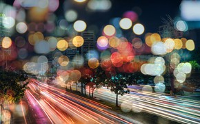 Picture the city, markup, road, excerpt, blur, night, cars, skyscrapers, bokeh, wallpaper., feel of speed, colored …