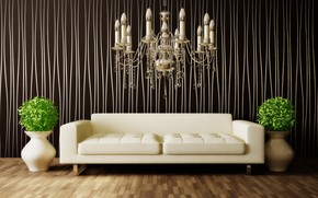 Wallpaper flowers, sofa, interior, chandelier, vases, room, interior, modern
