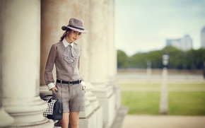 Picture model, shorts, hat, costume, tie, columns, blouse, brown hair, bag, photoshoot, bokeh, Lily Collins, Lily …