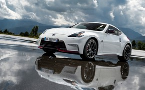Wallpaper Reflection, Road, Nissan, Sport Car, Nismo, 370Z, Drives, Water, Machine