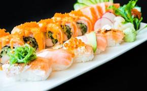 Picture cucumber, plate, caviar, sushi, salmon, Chuka seaweed