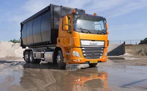 Picture orange, body, DAF, DAF, 6x2, platform, Euro6, DAF CF 400 FAN, bulk cargo