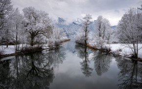 Picture winter, mountains, river, Germany, Bayern