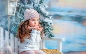 Picture winter, snow, snowflakes, tree, girl, lantern, child, bench