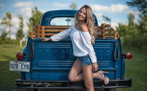 Picture machine, girl, pose, shorts, truck, Studebaker