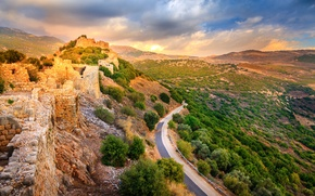 Wallpaper stones, valley, fortress, the ruins, the bushes, road, Israel, Golan Heights, mountains, Nimrod Fortress National ...