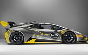 Picture Lamborghini, racing car, side view, Huracan, Super Trophy Evo