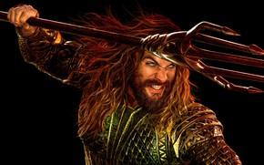 Picture fiction, armor, Trident, black background, poster, comic, DC Comics, Aquaman, Jason Momoa, Jason Momoa, Justice …