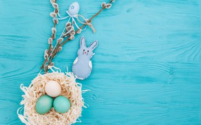Picture branches, eggs, spring, Easter, wood, Verba, blue, spring, Easter, eggs, decoration, Happy, tender