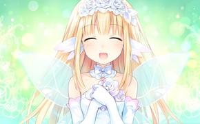 Picture anime, fairy, art, girl, bouquet, hyperdimension neptunia