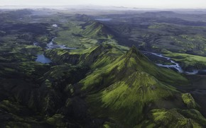 Picture mountains, valley, Iceland, river