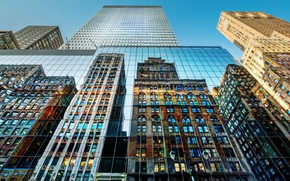 Picture city, glass, USA, New York, NYC, New York City, reflection, buildings, architecture, skyscrapers, cityscape, United …