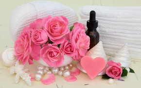Picture flowers, towel, soap, shell, Spa