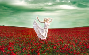 Picture field, girl, flowers, mood, Maki, dance, dress, Vanessa Galway