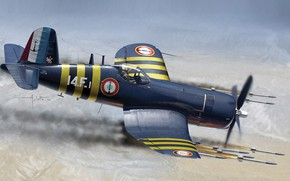 Wallpaper Missiles, F4U-7, Chance Vought, Art, carrier-based fighter, Painting