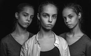 Picture portrait, monochrome, three girls, Tatiana Vishnevskaya, three sisters