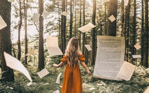 Wallpaper Bird Man, forest, book, girl, page