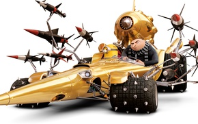 Picture cartoon, missiles, spikes, white background, car, animation, minion, Gru, Despicable Me 3, Dru, Despicable me …