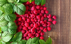 Wallpaper Leaves, Raspberry, Berries, Food