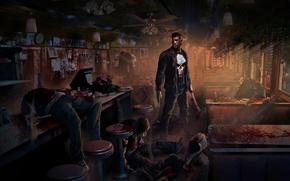 Picture weapons, blood, skull, art, cafe, axe, corpses, sleeve, Punisher, marvel, Marvel Comics, The Punisher, Jon …