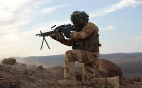Picture goal, soldiers, machine gun