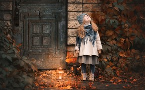 Picture autumn, door, girl, lantern