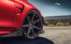 Picture road, auto, red, disk, BMW M4
