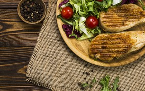 Picture food, meat, pepper, vegetables, salad, grill, tomatoes-cherry
