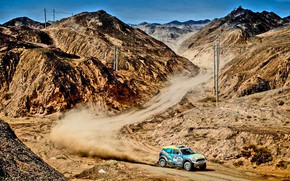Picture Mini, Mountains, Dust, Sport, Speed, Race, Rally, Rally, MINI Cooper, Silk Way
