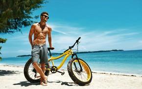 Wallpaper bike, tan, guy, figure, sports, trees, beach, sand, shorts, sea, male, glasses, the sun, the ...