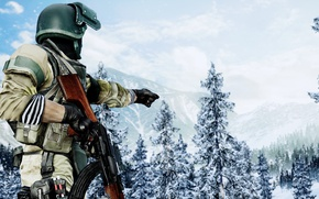 Picture gun, game, forest, soldier, blizzard, weapon, Battlefield, snow, rifle, uniform, seifuku, Battlefield 4, AK 47, ...